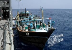 File The Iranian Dhow UAID 400 alongside ESPS Navarra (Photo courtesy EU NAVFOR)