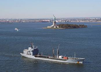 File Navigating New York Harbor: Photo courtesy of USN