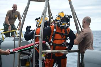 File Navy EOD divers prepare: Photo credit US Navy Mil.