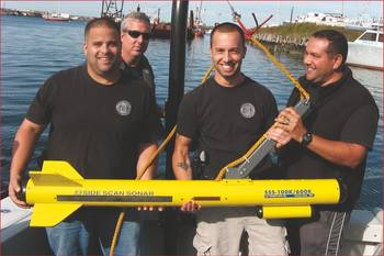 File Members of the New Bedford Police Dept. Port Security Team with their Fisher side scan sonar