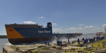File Van Oord's new DP2 cable-laying vessel Nexus was launched at Damen Shipyards Galati (Photo courtesy of Damen)