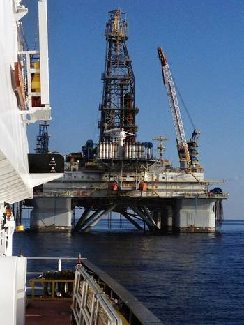 File Ocean Sky tending to Noble drill rig John Day during blackout trials (photo by Captain Ward Davis)