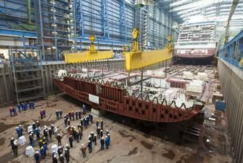 File Keel-laying Norwegian Getaway: Photo credit Meyer Werft