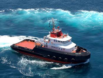 File First of the Ocean class tugs, OCEAN WAVE on builders trials prior to delivery to Crowley from Bollinger.