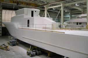 File The composite hull of the Global Response Cutter (GRC-43) under construction at Westport Shipyard (Photo courtesy Westport)