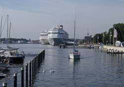 File Two cruise vessels at Ostseekai. (Photo courtesy: Port of Kiel)