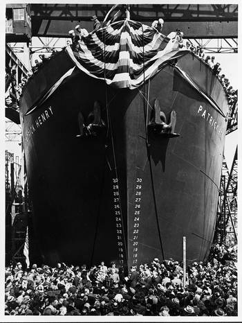 File The S.S. Patrick Henry was the first of the Emergency Class Liberty  ships to be built and launched. The  famous quote by its namesake helped to give this class of ships its name. (Photo Credit: Library of Congress)