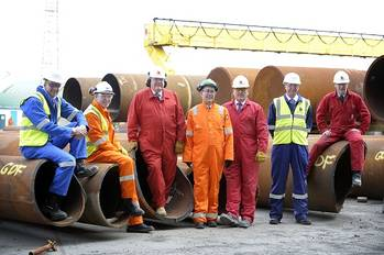 File L-R - Ian Conacher  GDF SUEZ E&P UK, Greg McKenna Centrica, John Robertson BiFab MD, R Jean-Claude Perdigues managing director of GDF SUEZ E&P  UK, Martin Adam BiFab, Gerry Harrison Bayerngas MD  and Ian Potts BiFab.