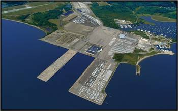File Aerial view of the Port of Davisville at Quonset Business Park.