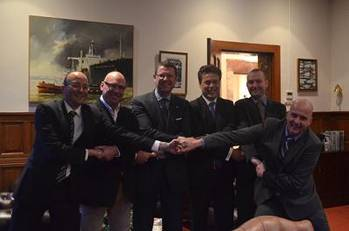 File From left to right :  Edward Gatt/Elisabeth Ltd; John Eldridge/Aspin Kemp & Associates (AKA); Ard Jan Kooren/Kotug International BV; Arnout Damen/Damen Shipyards Group; Todd Barber/Robert Allan Limited; Evan Willemsen/KST b.v. (Rotortug)