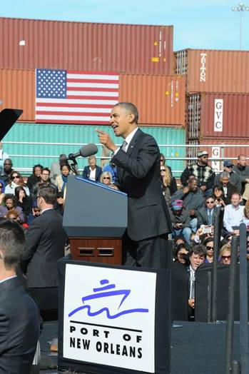 File President Obama at Port of New Orleans: Photo credit the port authority