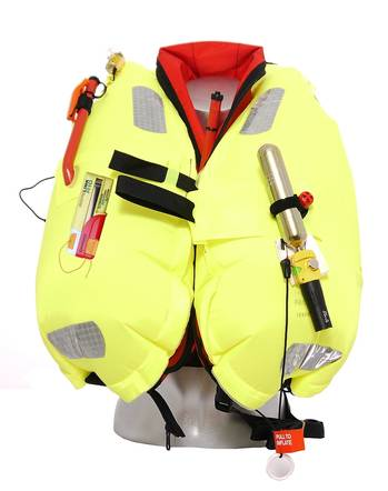 File The Premier Kru Falcon Lifejacket from Ocean Safety featuring the Kannad R10 AIS SRS and the AQ98 lifejacket light.