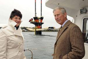 File Seeing SeaGen close up - HRH Prince Charles with Mrs Arlene Foster, Northern Ireland's Minister of Enterprise, Trade & Investment. (Photo courtesy Marine Current Turbines)
