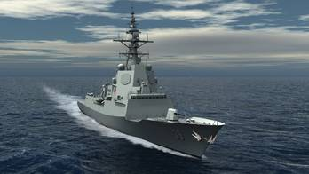 File Shown is an artist rendering of the Royal Australian Navy's Hobart-class Air Warfare Destroyer. Each of the three AWDs for this program will be powered by two LM2500 gas turbines in a Combined Diesel or Gas turbine (CODOG) configuration. Photo courtesy of the AWD Alliance.