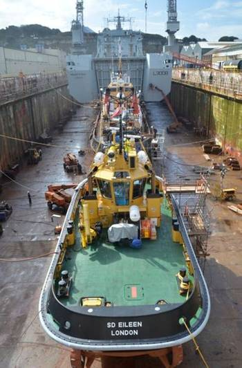 File RFA Mounts Bay & HMS Severn in Drydock: Photo credit A&P Shipyards