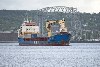 File Arrival of the BBC Peter Roenna in the harbor this morning (Duluth's Aerial Lift Bridge in background)