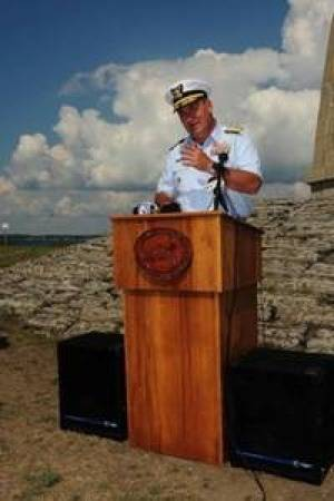 File Acceptance Speach by Rear-Admiral Michael N. Parkes: Photo credit USCG