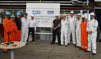 File Representatives from NDSQ and NSW at the keel-laying ceremony