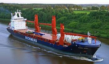 File The 19,100-dwt Rickmers Chennai has been named in a ceremony in Hamburg by Dr. Christine Winter, acting as sponsor of the vessel. (Photo: Rickmers-Linie)