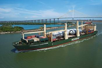 File One of the first Rickmers vessels to implement ABB's EMMA Energy Management system is Rickmers Singapore, which operates on Rickmers-Linie's scheduled Pearl String round-theworld service. She is seen here navigating the Houston Ship Channel.