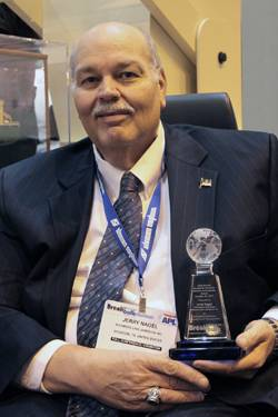 File Jerry Nagel was presented with the Breakbulk Lifetime Achievement Award at the Breakbulk Americas Transportation Conference & Exhibition in New Orleans October 25-27 2011.