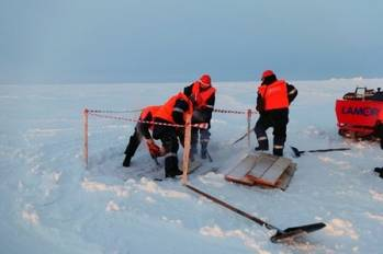 File Arctic oil spill clean-up training: Photo credit Gazprom
