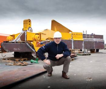 File Ecosse Subsea Systems managing director, Mike Wilson, with the SCAR subsea plough