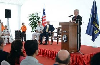 File SECNAV Speaks Aboard USS Freedom: Photo credit USN