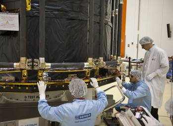File SENER professionals working in the Gaia sunshield Copy ESA