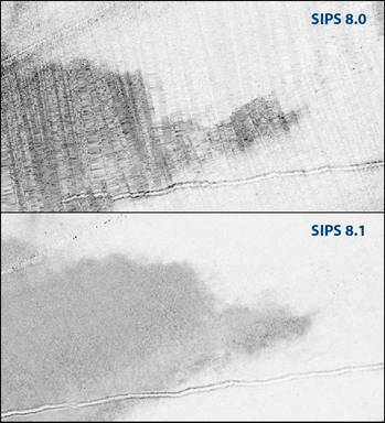 File Direct comparison of a mosaic created in SIPS 8.0 and SIPS 8.1 highlights the enhanced image quality.