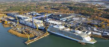 File The shipyard in Turku, which builds post-Panama class cruise vessels, is one of the biggest and most modern in Europe with a land area of 144 ha and a new building dock measuring 365 x 80 meters. (Photo: STX Finland)