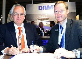 File Nick Jeffrey, General Manager of Solent Towage (left) and Arjen van Elk, Sales Manager North, West and South Europe, Damen Shipyards