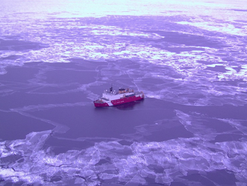 File An aerial view of Coast Guard Cutter Healy in Arctic waters. Photo courtesy of NOAA.