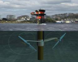 File SeaGen tidal turbine, installed in Strangford Lough, County Down, Northern Ireland, (image courtesy of Marine Current Turbines (MCT))