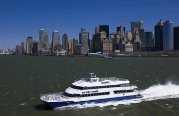 File Seastreak's Wall Street  Repower Synopsis  Installed power:	Reduced from 5696 kW 		to 3680 kW (35%)   Fuel consumption:	Reduced 30%  	(est. $500,000/year)  Weight:	Reduced 15 tonnes  CO2 emissions:	Per-passenger  value halved
