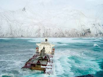 File December 8, 2004. The bulk carrier M/V Selendang Ayu ran aground on Unalaska Island.