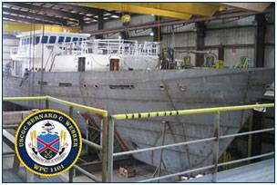 File The lead Sentinel-class FRC, the Bernard C. Webber, under construction at Bollinger Shipyards. U.S.Coast Guard Photo