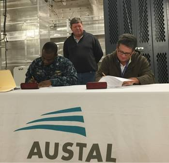 File  Signing of Delivery Documents onboard USNS Brunswick (EPF 6).
