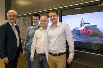 File Ulstein Design & Solutions' sales team on the ocean going tug project, from left: Sigurd Viseth, Thomas Brathaug, Ove Dimmen, and Bjørn Harald Norvik (Copyright ULSTEIN)