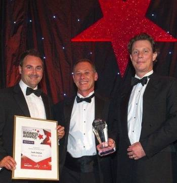 File Saab Seaeye directors receive the two awards: Business of the Year and Excellence Through Innovation. Left to right, Mark Exeter, Operations Director; Matt Bates, Sales Director; Jon Robertson, Managing Director.