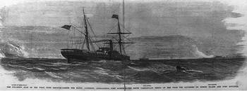 File Steamship Star of the West, with reinforcements for Major Anderson, approaching Fort Sumter (Image courtesy United States Library of Congress)