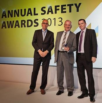 File (From left to right) Gerard Rohan, SVP – Continental Europe, and Bill Abbott, Group Scaffold Manager, who collected the 'Safety Innovation' award on behalf of the Scaffold Design Team, with Mike Mann, SVP – Global HSSEQ (all Stork Technical Services)