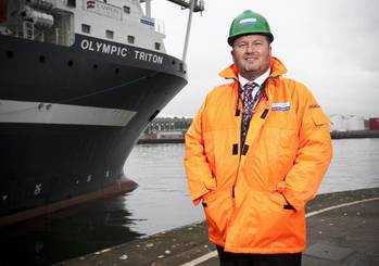 File Roddy James, Director of Stork Technical Services Subsea, with the company's chartered Olympic Triton vessel.
