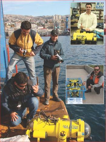 File Chile's Fernando Landeta of Landmarine (r) with Fisher SeaOtter ROV; Top inset – Ecuador's Edwin Ortega with his new SeaOtter-2 ROV at Fishers factory; Center inset; Chile's Pedro Campos of Subsea Engineering with his SeaLion ROV in crash cage