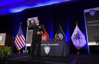 File Rear Adm. Mat Winter, chief of naval research, discusses game-changing technology for the warfighter during a keynote address at the 28th Annual Surface Navy Association National Symposium. The Department of the Navy