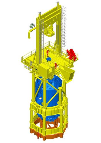 File The new T120 drill on top of the Conductor (framework that lifts it above the waves) all in yellow, and also showing the down hole equipment in blue. It will be configured as shown here and attached to the orange steel frame which is fixed to the deck of the transport installation vessel (TIV).