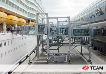 File 20 years after its creation, TEAM, the world leader in the design, manufacture, installation and maintenance of Passenger Boarding Bridges for cruise and ferry terminals, is changing its name to ADELTE.
