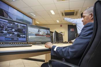 File The newly renovated control room at the Port of Durban boasts state-of-the-art video walls for added visibility across the port.