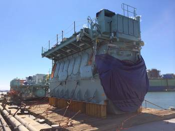 File The world's first dual-fuel slow-speed engine arrived at General Dynamics' NASSCO Shipyard (Photo: TOTE)