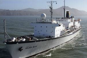 File The 500-ft Cal Maritime Training Ship Golden Bear. The Navigation Lab installation is located on the top deck midships, forward of the aft mast and funnel. Photo courtesy The California Maritime Academy
